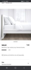 Malm double bedframe from IKEA with John Lewis double mattress is excellent conditon