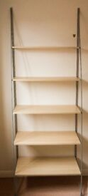 Shelving Unit, in silver and beech wood effect. Suitable as book shelf, storage shelf and display.