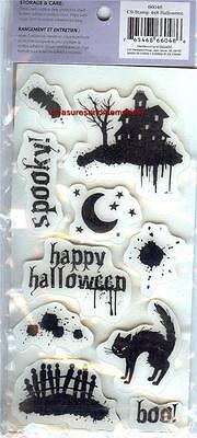 CLOUD 9 Rubber Cling Stamps HALLOWEEN Spooky Haunted House Boo! Black Cat Bat