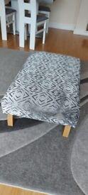 Footstool in Khalifa Steel Fabric
