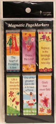 Beautiful Whimsical Magnetic Page Bookmarks Set of 6 Bible Verses Friendship NEW