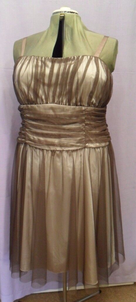 Definitions Mocha Brown Satin & Tulle Lace Evening Party Fun Dress - Size 20 / 22