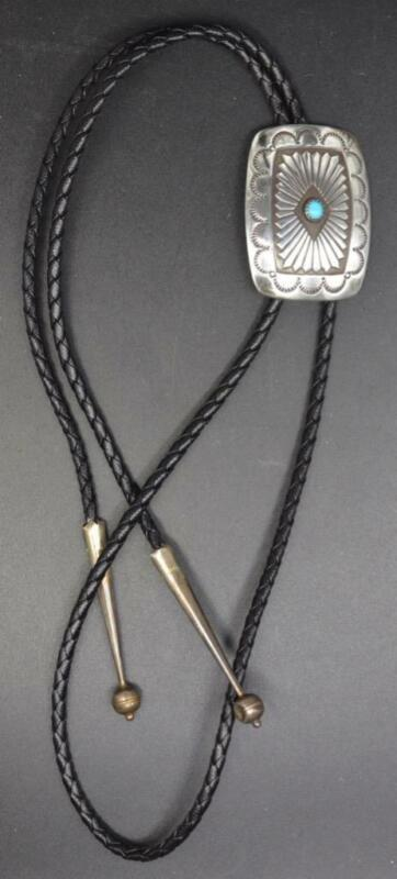 Vintage Navajo Sterling and Turquoise Bolo Tie ~ Excellent Stamping Design