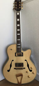 Stunning Tiger Flame Maple Top Jazz Semi Acoustic Electric Guitar - Also Ideal for Rockabilly Styles