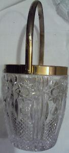 VINTAGE-DIAMOND-CUT-PRESSED-GLASS-CRYSTAL-ICE-BUCKET-WITH-GOLD-RIM-HANDLE