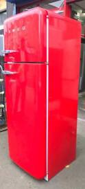 //(%)\ RETRO SMEG PILLER BOX RED FRIDGE FREEZER INCLUDES 6 MONTHS GUARANTEE