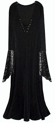 Sexy Black Velvet Lace-up Dress Dark Angel Fairy Witch Costume PLUS SIZE S to