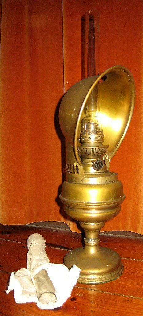 Antique Vintage Original Brass Oil Lamp Light Sherwoods Complex 10~Working Order with Spare Chimney