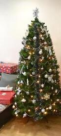 6.5ft Christmas Tree with decorations and lights