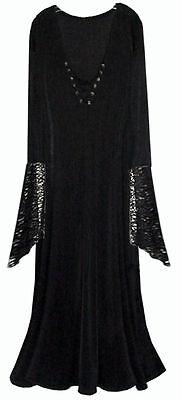 Sexy BLack Velvet Lace-up Dress Dark Angel Witch Costume PLUS SIZE SM to 9x - Black Lace Kleid Kostüm