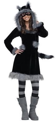 Damen Teenager Deluxe Süß Washbär Kleid Kostüm mit / Kapuze Junior - Junioren Kostüm