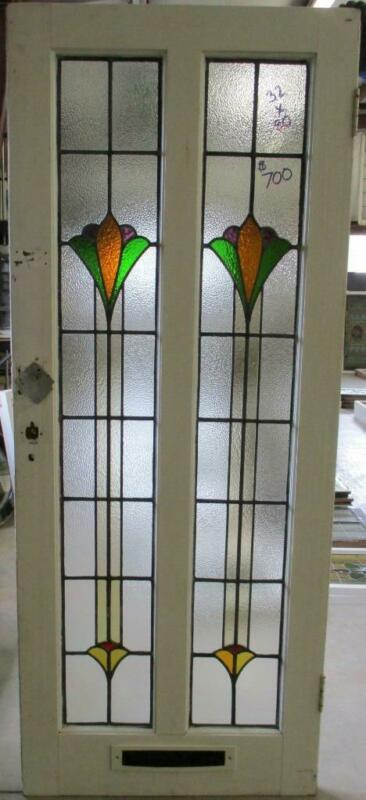 "OLD ENGLISH Stained Glass Door Stunning Double Abstract Tower 32"" x 80"""