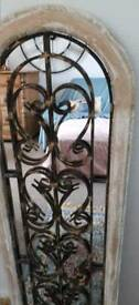 Shabby chic boudoir vintage white gold arched window mirror iron