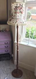 Oak Vintage Standard Floor Lamp Inc Floral Shade