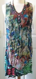Ladies KLASS Multi Coloured Crinkle Summer Dress Size 14/16 NEW WITH TAGS RRP. £40!