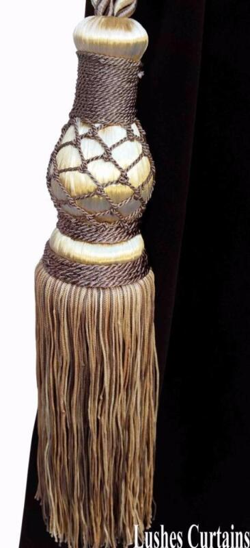 Brown & Gold Color Window Treatment Curtain Drape Tassel Rope Tie Back/Holdback