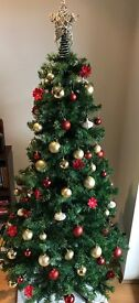 FOR SALE- PRE-LIT 6FT CHRISTMAS TREE, BAUBLES, STAR, WREATH & HOLLY