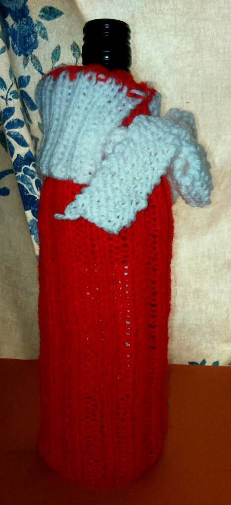 Hand knitted wine bottle cover