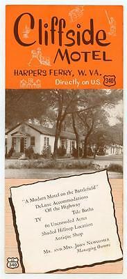CLIFFSIDE MOTEL Vintage 1950s Advertising Brochure HARPERS FERRY WV Hwy US 340