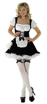 Deluxe Black and White French Maid Sexy Classified Fancy Dress Costume