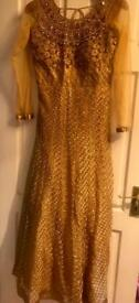 Brand new gold anarkali asian/indian/pakistani dres