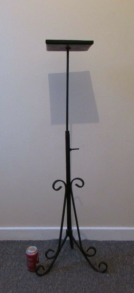 Metal Plant Tripod Stand Black Wrought Iron Hanging Basket Planter