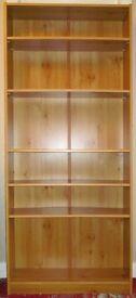 Teak veneer bookcase - 6 shelves, 4 adjustable