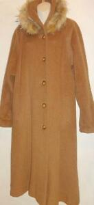 L XL TALL Hilary Radley LONG ALPACA SWING COAT Brown REAL FUR WOMEN WinterCanada