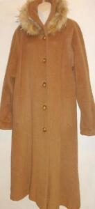 Oakville L XL TALL Hilary Radley LONG ALPACA SWING COAT Brown REAL FUR trim Womens Winter Canada
