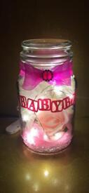 Personalised baby nightlight memory jar