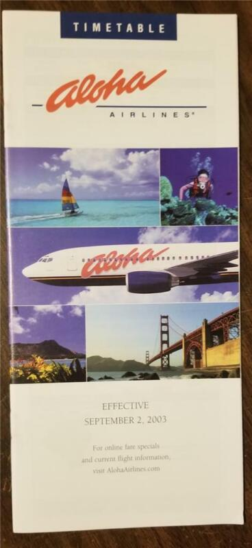 ALOHA AIRLINES System Timetable 9/2/03 with Route Map A234