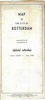 Vintage 1960s Rotterdam, Netherlands Travel Map - Rijn Hotel
