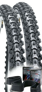 Two-Raleigh-Eiger-26-x-1-95-Bicycle-Bike-Tyres-And-Inner-Tubes-Tyre-MTB-ATB-XC