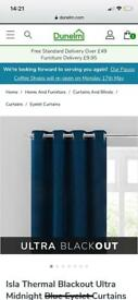 Black out Navy Curtains 117 x 137