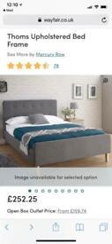 KING SIZED UPHOLSTERED BED WITH MATTRESS