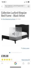 Collection Luxford Luxurious Kingsize Black Velvet Bedframe with Large Headboard