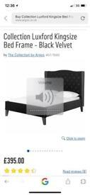 Kingsize Black Velvet Bedframe with Large Headboard
