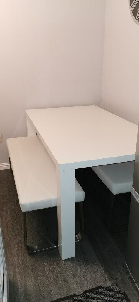 Gloss White Dining Table With Benches