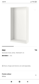 IKEA pax wardrobe frame 100x35x201 with two double retractable rails