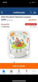 Fisher Price CHM91 Roarin' Rainforest Jumperoo,baby activity centre with music and lights