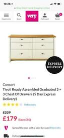 Chest of draws country cottage cream with contrasting oak-effect top