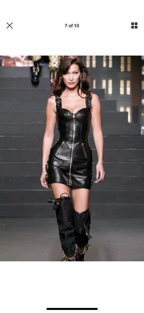Moschino Tv Hm Leather Dress Uk 8