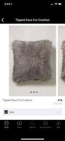 Next grey faux fur cushions x 2