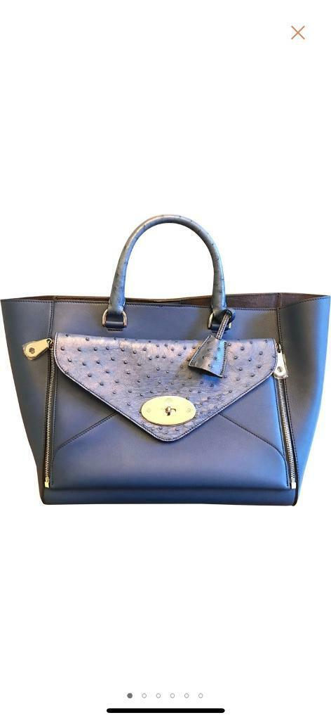 4aadc4fb7d480d Mulberry Willow Tote Large - Ostrich Leather - Sea blue - Brand New ...