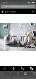 ARTISAN HAMMERED SILVER COFFEE TABLE AND SIDE TABLES