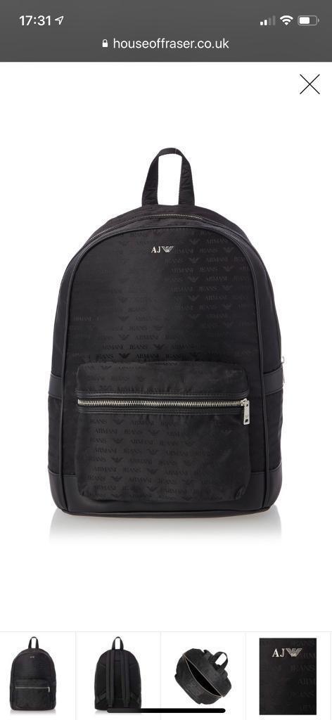 Aj Armani Genuine Backpack Rucksack New Bag Jeans Mens 3TJclFuK1