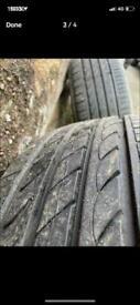 16 inch 5x112 alloys good tyres