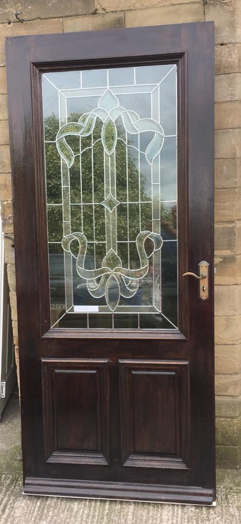 Wood Door With A Superb Bevelled Glass Panel Used Condition In