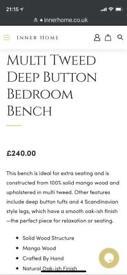 Multi tweed bedroom bench