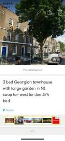 2/3 bed georgian townhouse exchange for 3 bed house / maisonette in west london